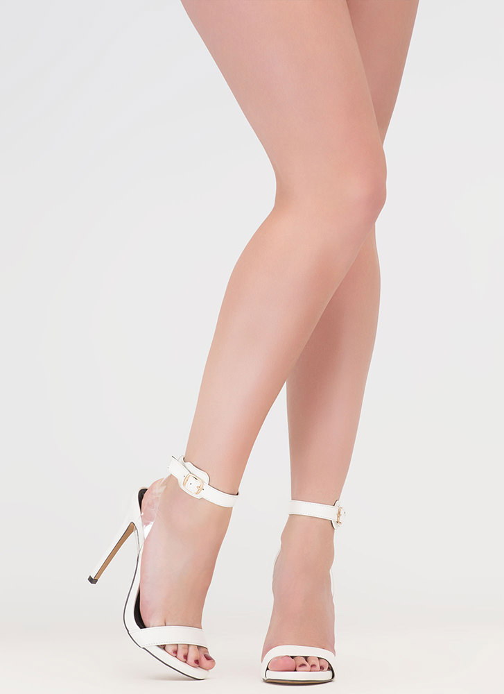 Illusion Faux Leather Ankle Strap Heels WHITE
