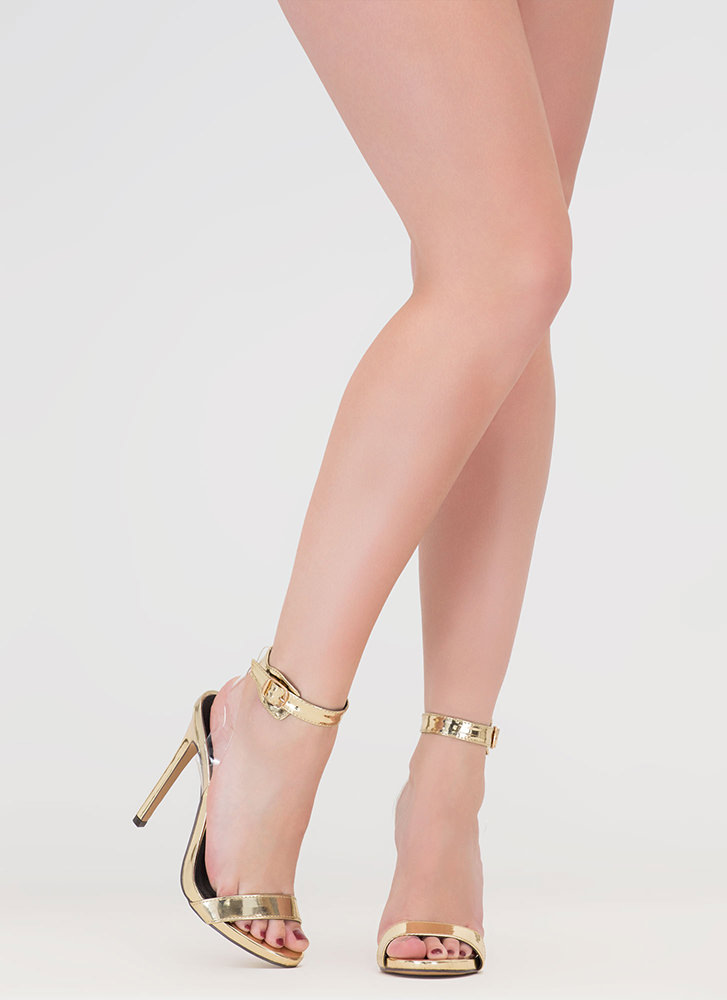 Illusion Faux Patent Ankle Strap Heels GOLD