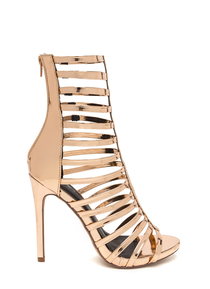 Up The Ladder Metallic Gladiator Heels ROSEGOLD GOLD - GoJane.com