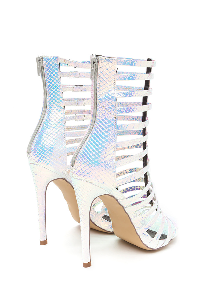 Up The Ladder Scaled Gladiator Heels PINK