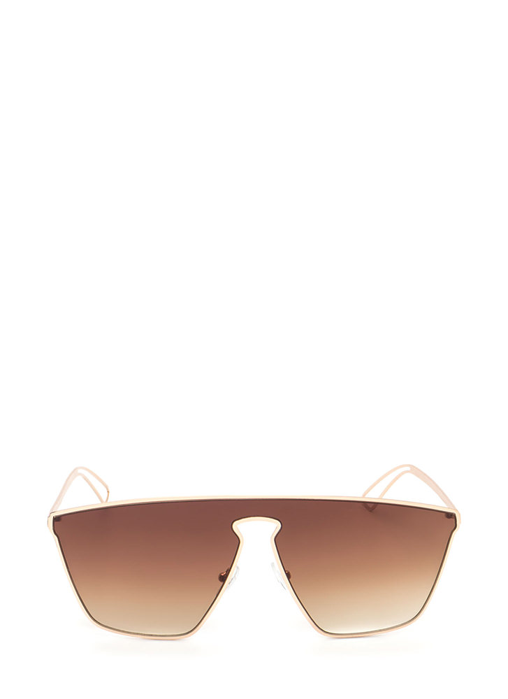 Key To Style Oversized Sunglasses BROWNGOLD