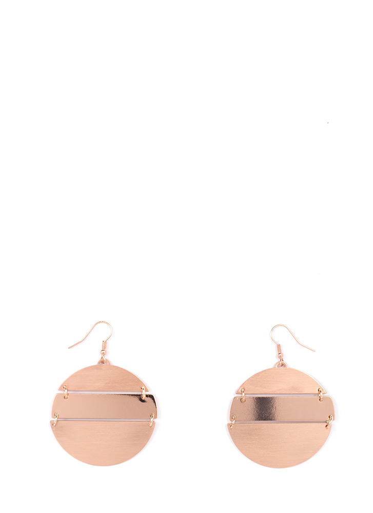 Round Up Shiny Textured Earrings ROSEGOLD