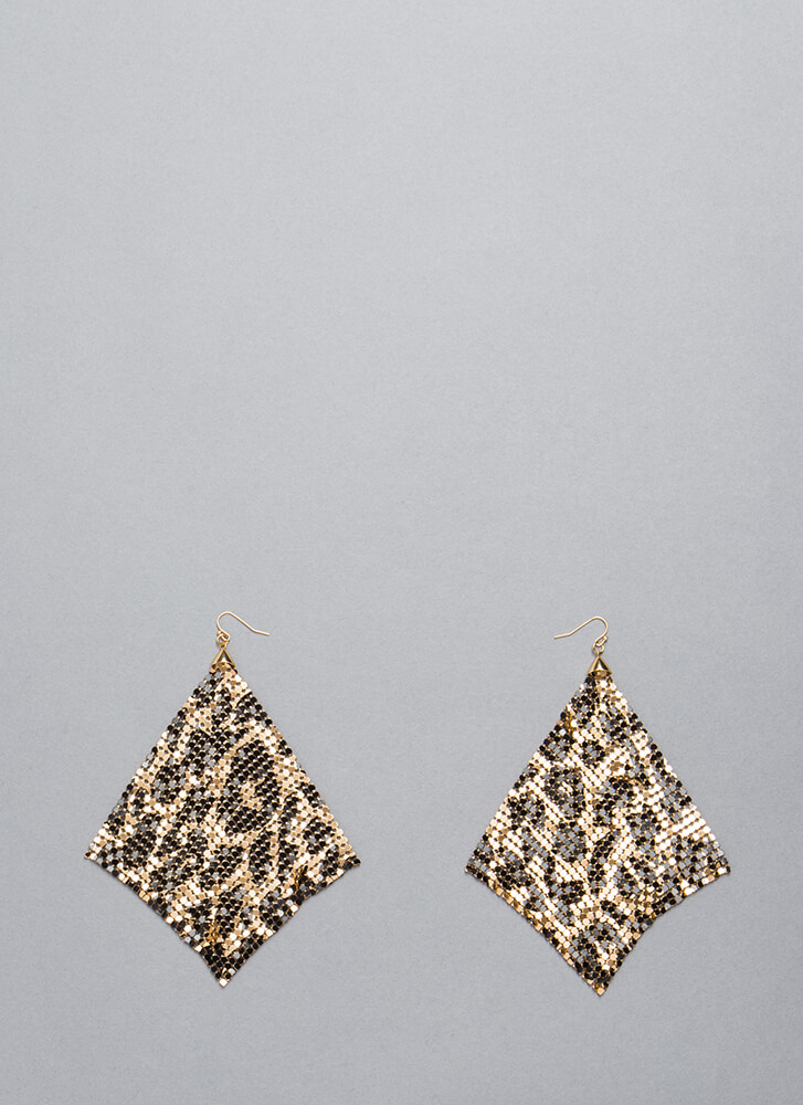 Shimmer Away Square Chainmail Earrings LEOPARD
