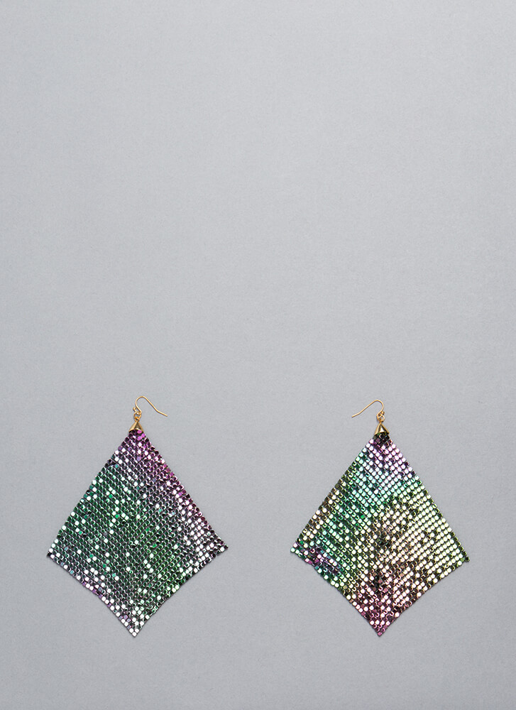 Shimmer Away Square Chainmail Earrings MULTI