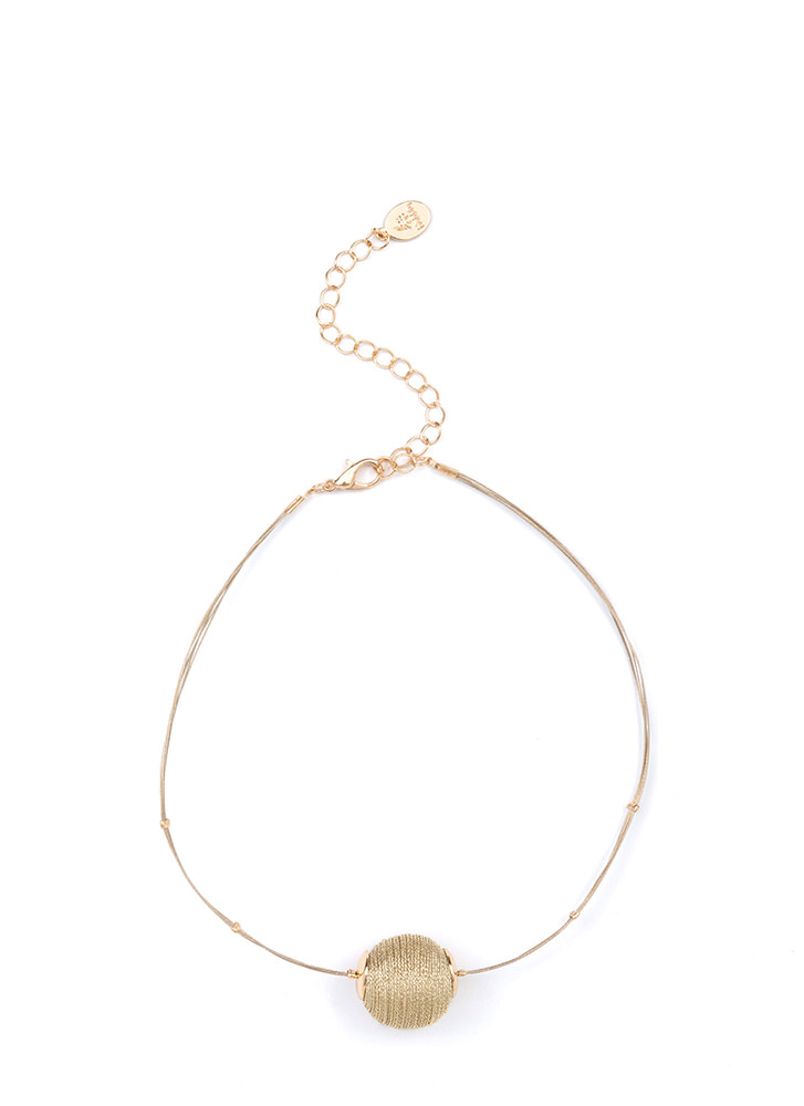 Thread Lightly Ball Charm Choker GOLD