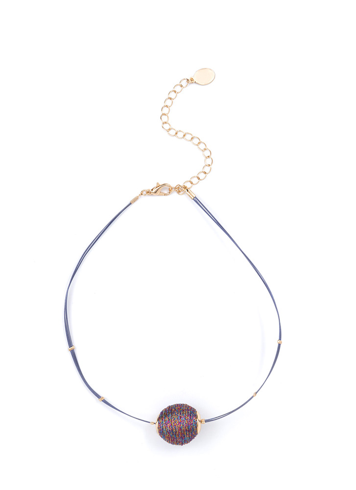 Thread Lightly Ball Charm Choker MULTI