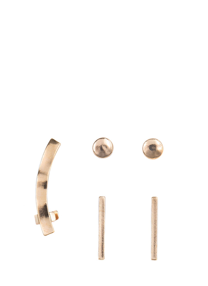 Hammer Time Cuff 'N Earrings Set GOLD