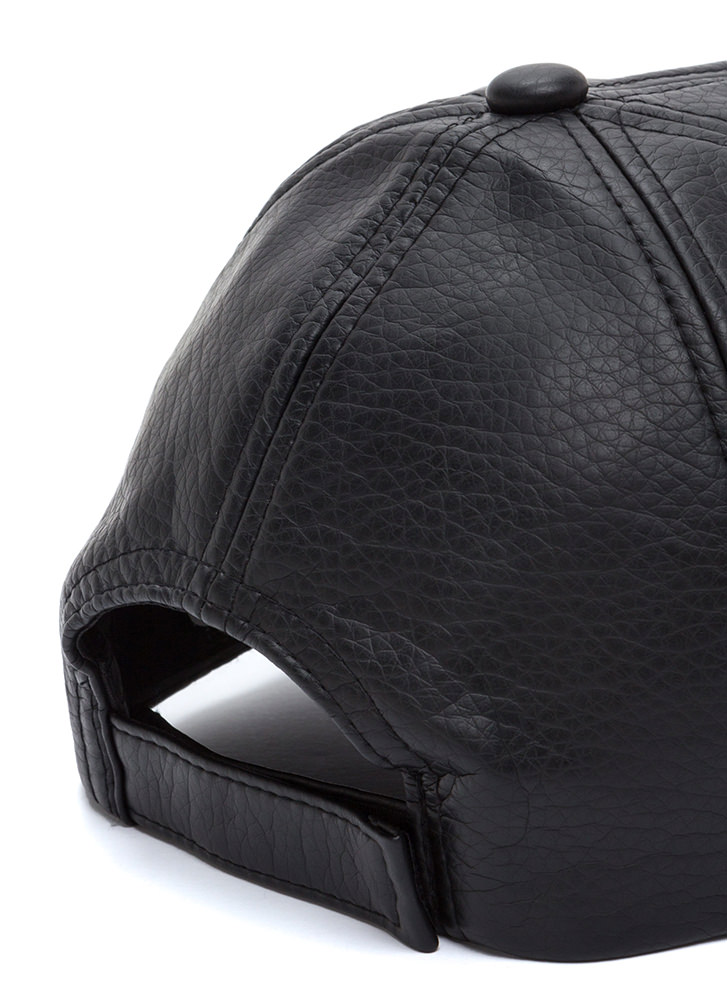 So Savage Faux Leather Baseball Hat BLACK