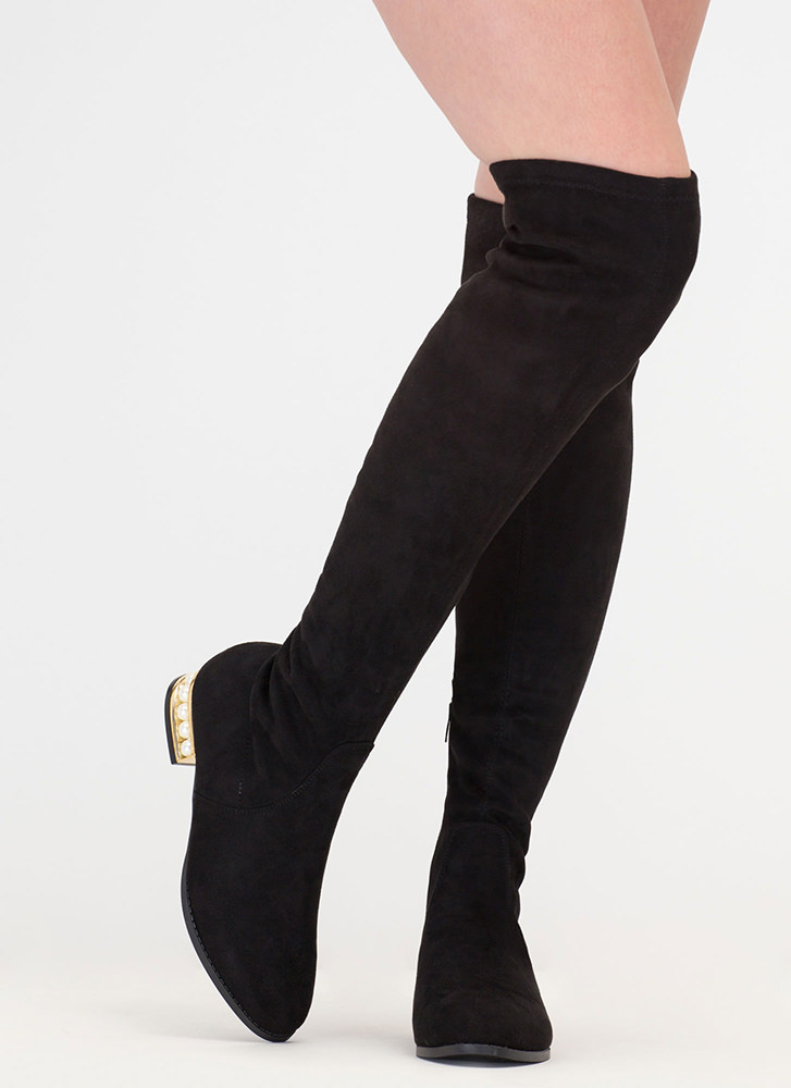 Precious Pearls Over-The-Knee Boots BLACK