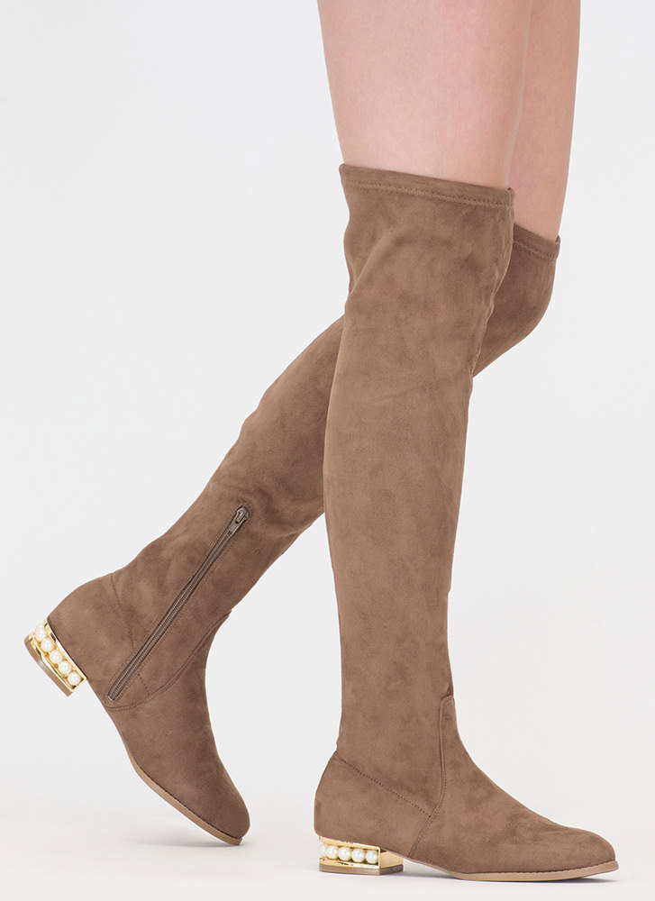 Precious Pearls Over-The-Knee Boots TAUPE (Final Sale)