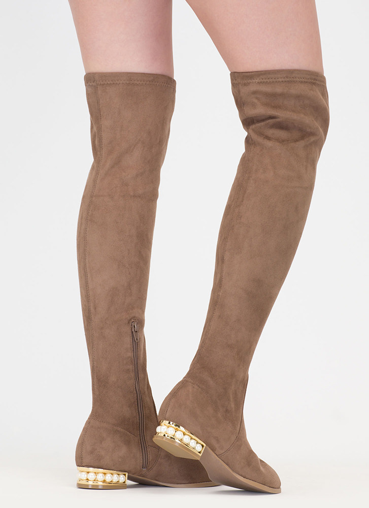 Precious Pearls Over-The-Knee Boots TAUPE