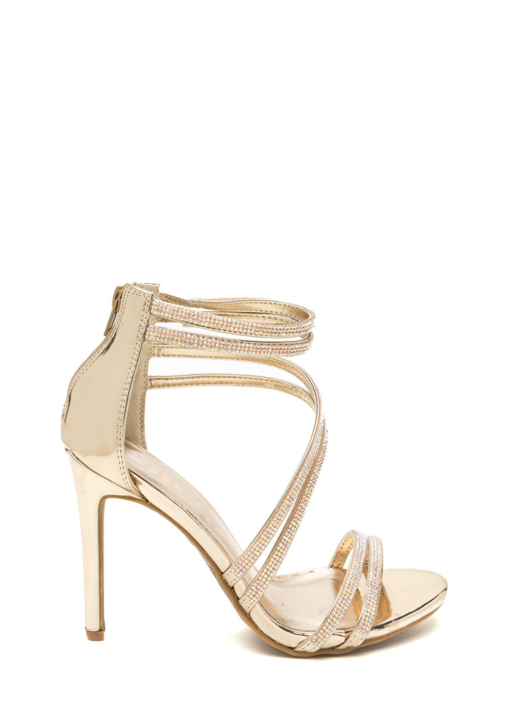 True Love Rhinestone Strap Heels GOLD