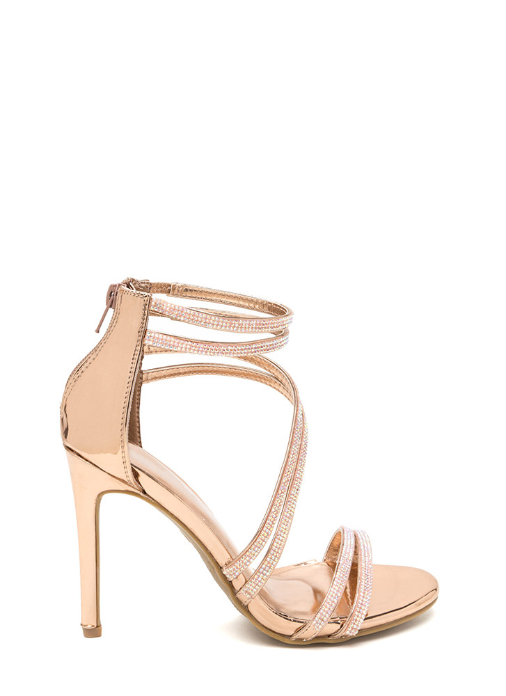 True Love Rhinestone Strap Heels ROSEGOLD (Final Sale)