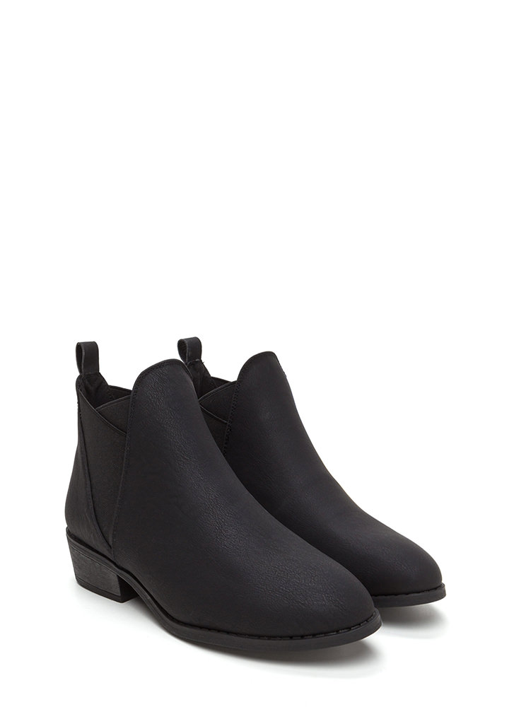 You've Been Band Faux Leather Booties BLACK