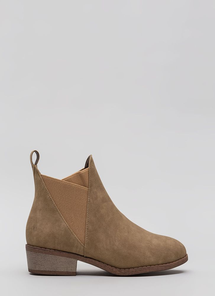 You've Been Band Faux Leather Booties TAUPE