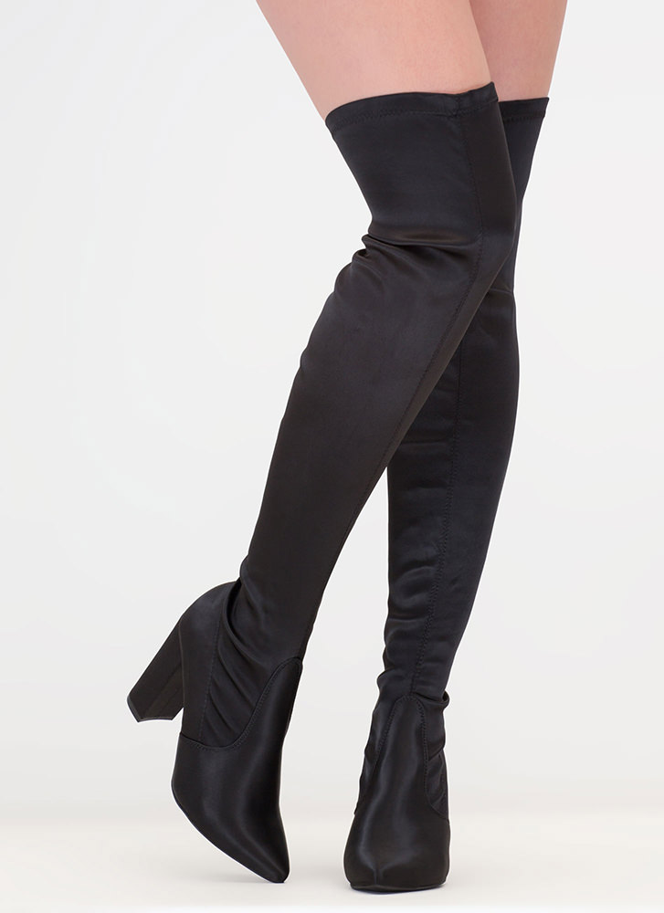On Point Chunky Satin Thigh-High Boots BLACK