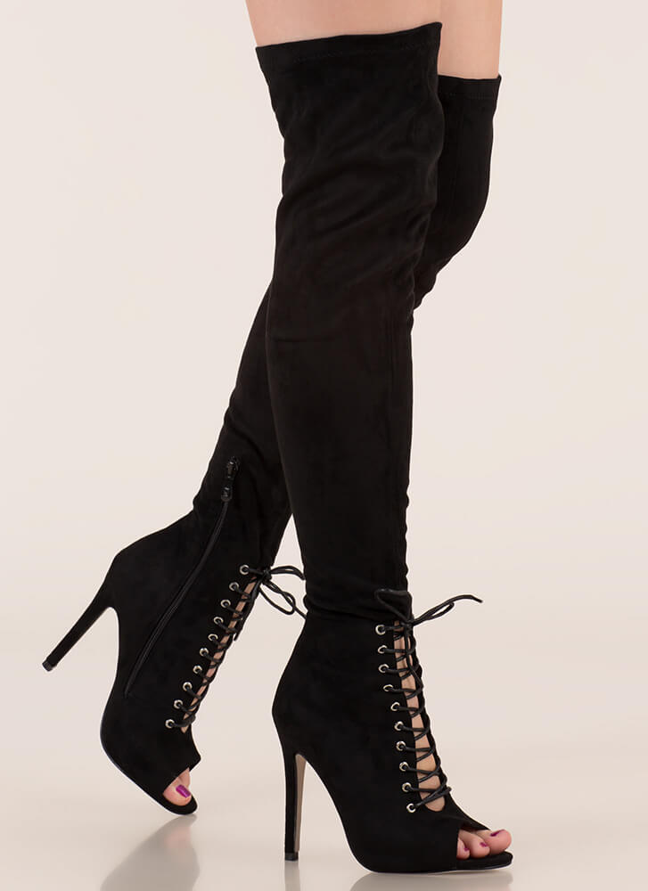 Let s Lace Peep-Toe Thigh-High Boots BLACK - GoJane.com a0d163cc5