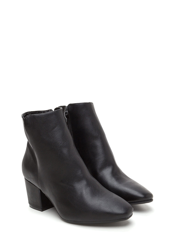 Upscale Place Chunky Notched Booties BLACK