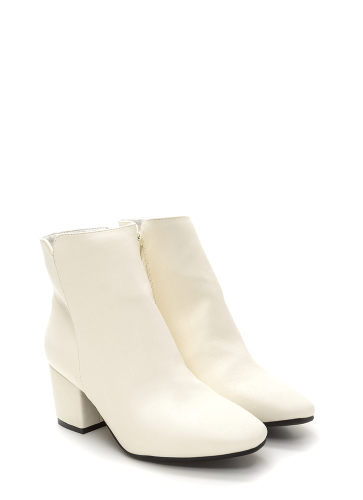 Upscale Place Chunky Notched Booties WHITE