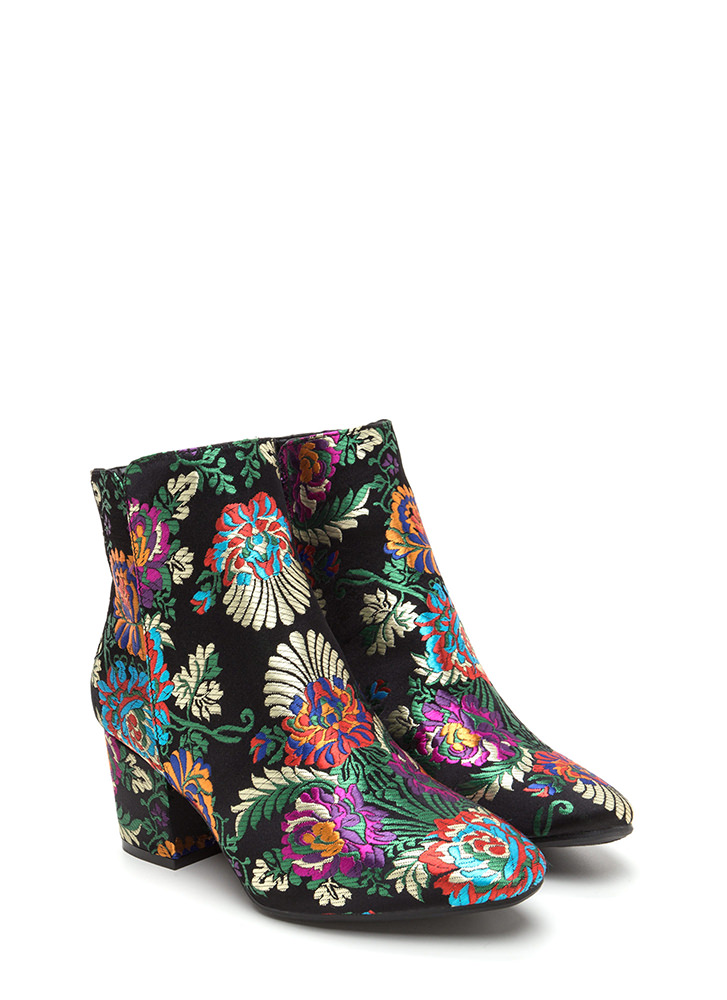 Upscale Place Embroidered Floral Booties BLACK