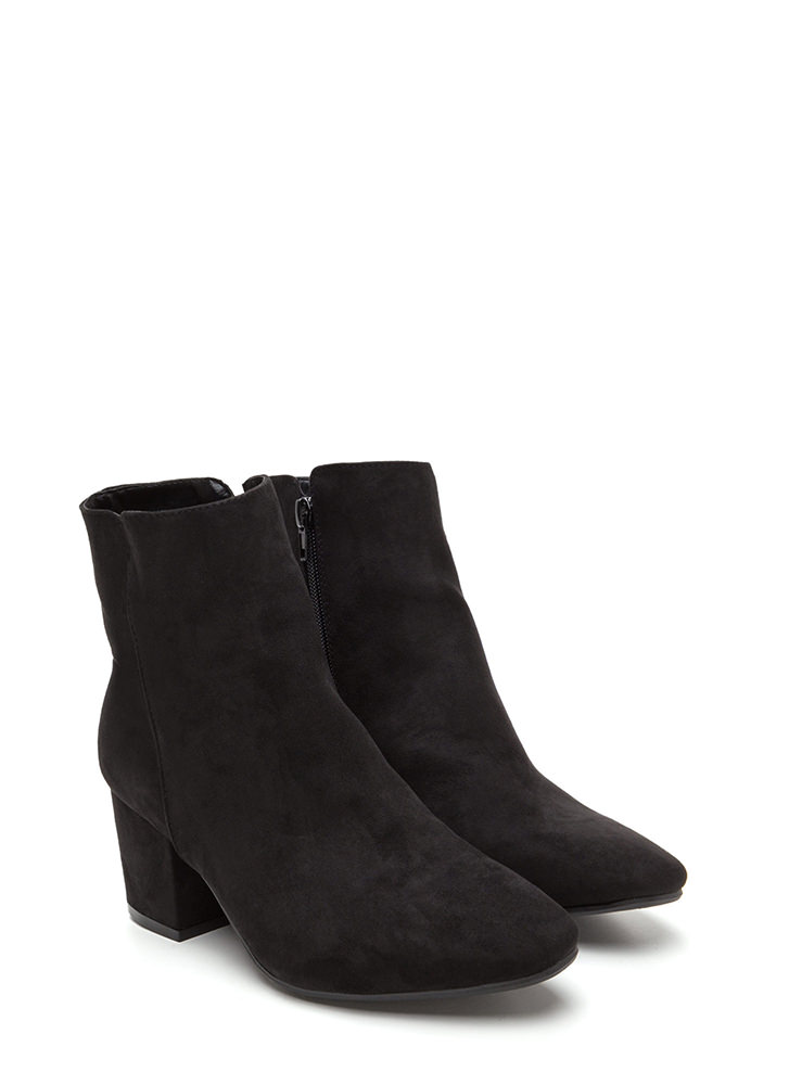 Upscale Place Chunky Faux Suede Booties BLACK
