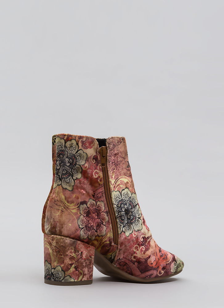 Upscale Place Velvet Print Booties TANMULTI