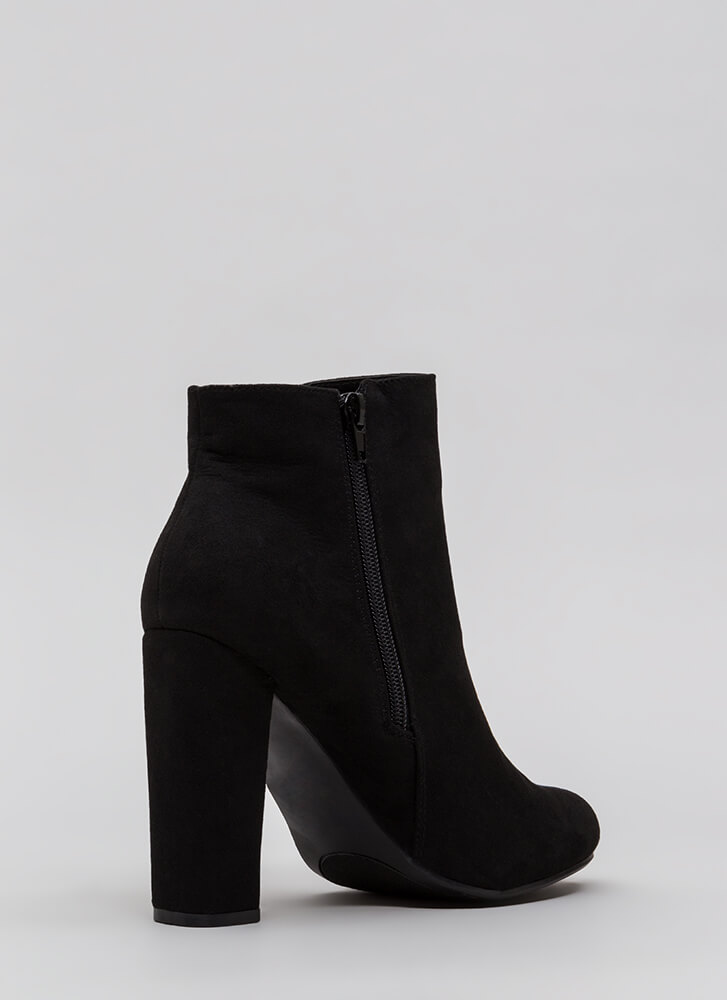 This Is Living Chunky Faux Suede Booties BLACK
