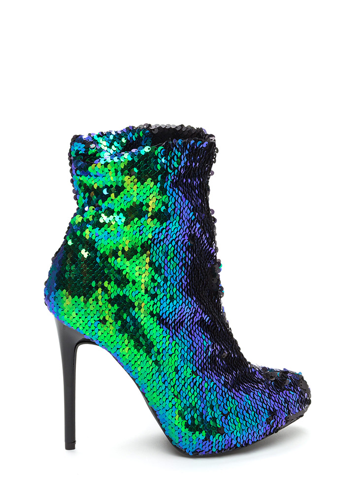 Love Is Blinding Sequined Booties MERMAID