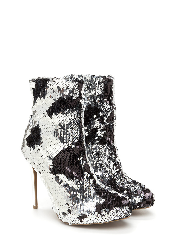 Love Is Blinding Sequined Booties SILVER