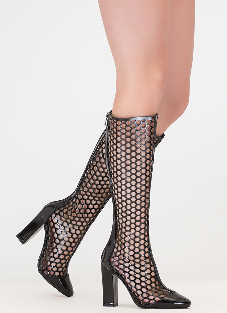 Hole Again Cut-Out Knee-High Boots BLACK
