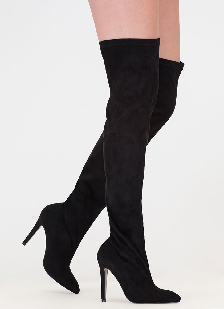 Oh Wide Not Pointy Thigh-High Boots BLACK