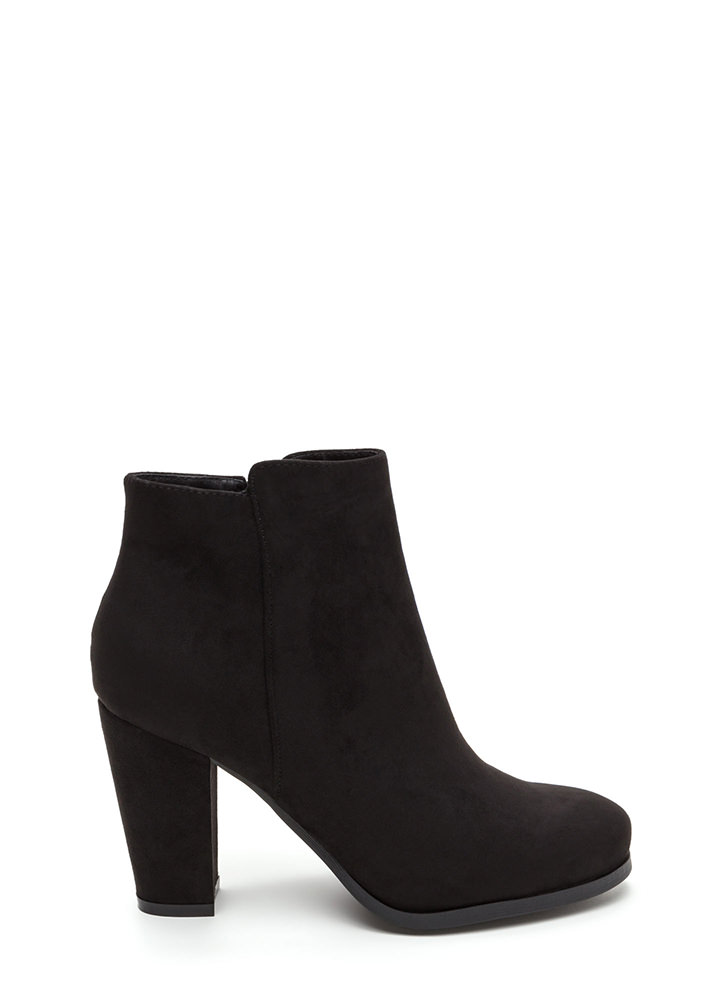 Playdate Chunky Faux Suede Booties BLACK