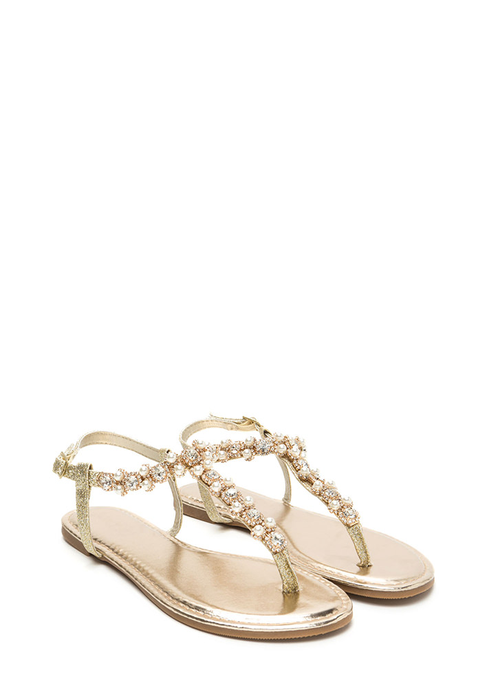 Gems And Pearls Sparkly T-Strap Sandals GOLD