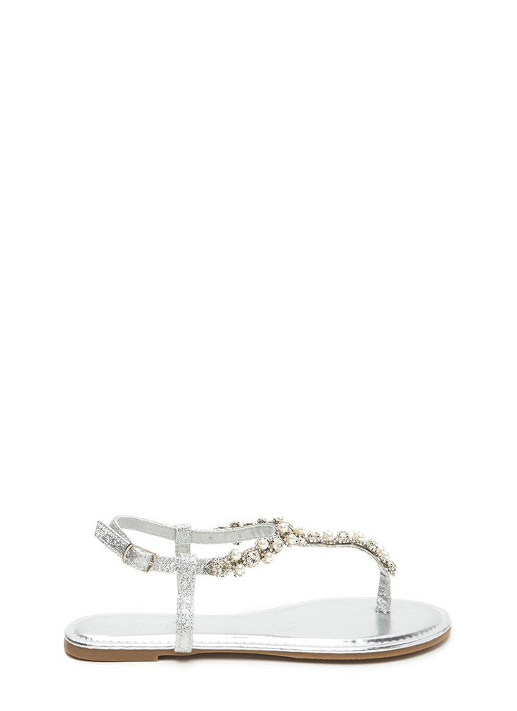 Gems And Pearls Sparkly T-Strap Sandals SILVER