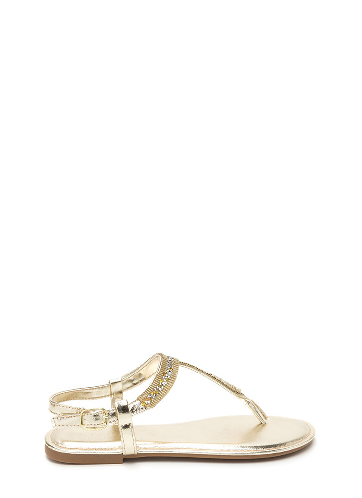 Festival Faves Jeweled T-Strap Sandals GOLD