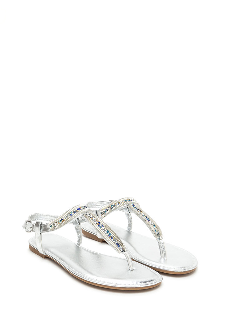 Festival Faves Jeweled T-Strap Sandals SILVER