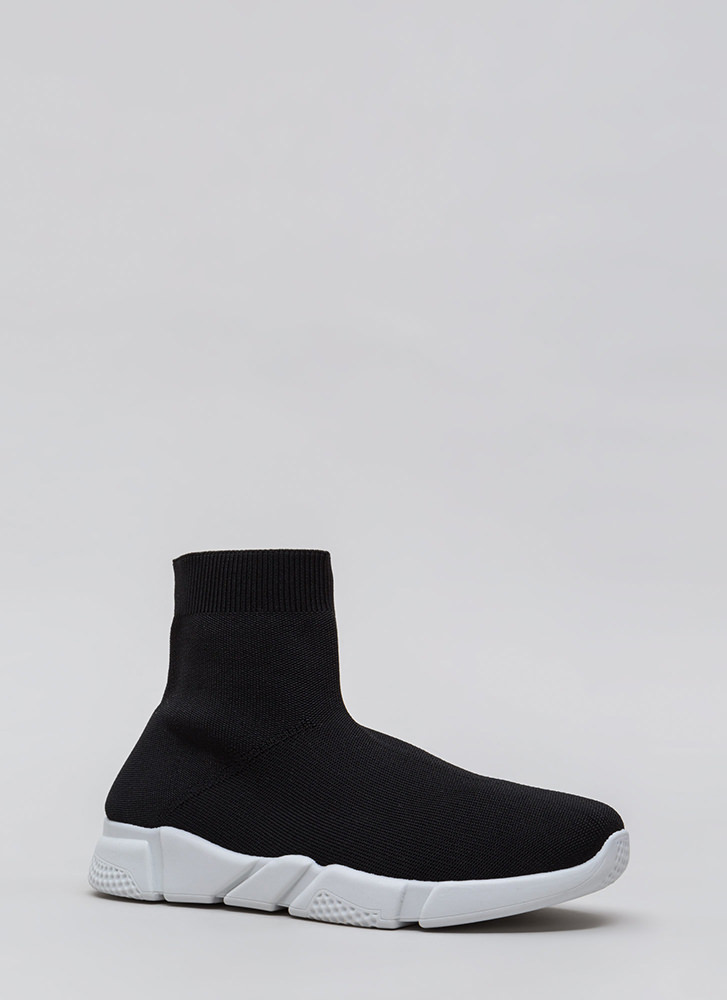 Take Flight Knit High-Top Sneakers BLACK