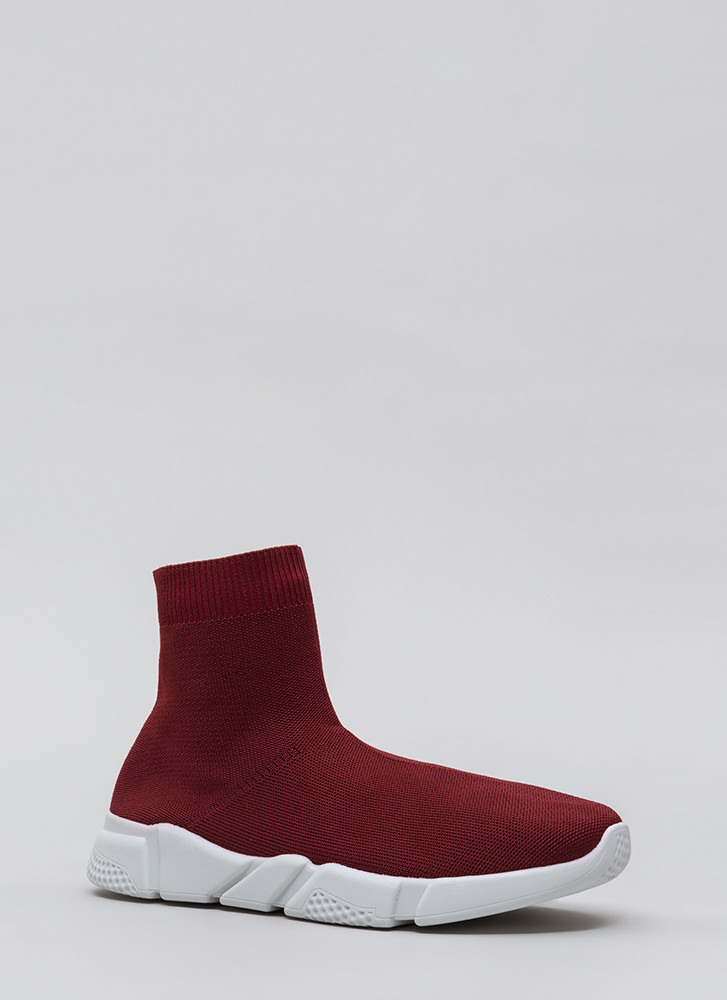 Take Flight Knit High-Top Sneakers BURGUNDY