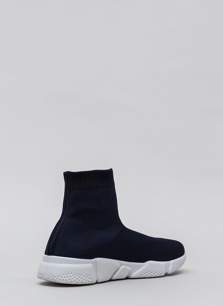 Take Flight Knit High-Top Sneakers NAVY