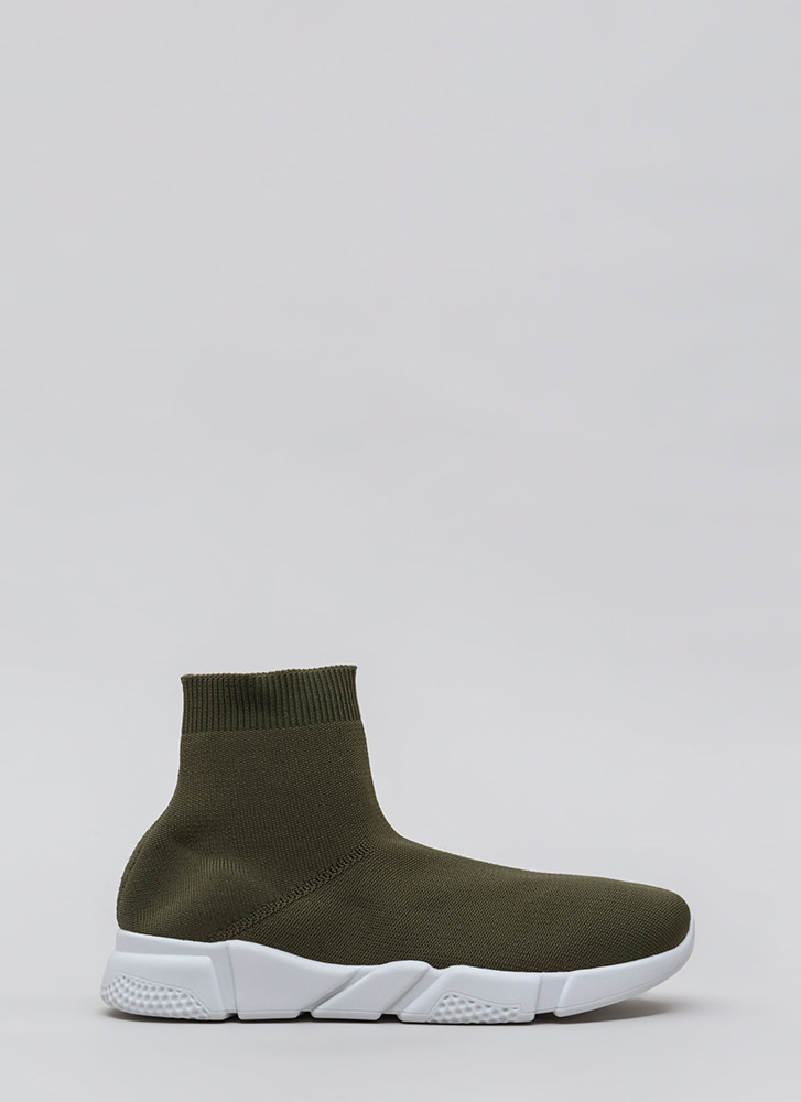 Take Flight Knit High-Top Sneakers OLIVE