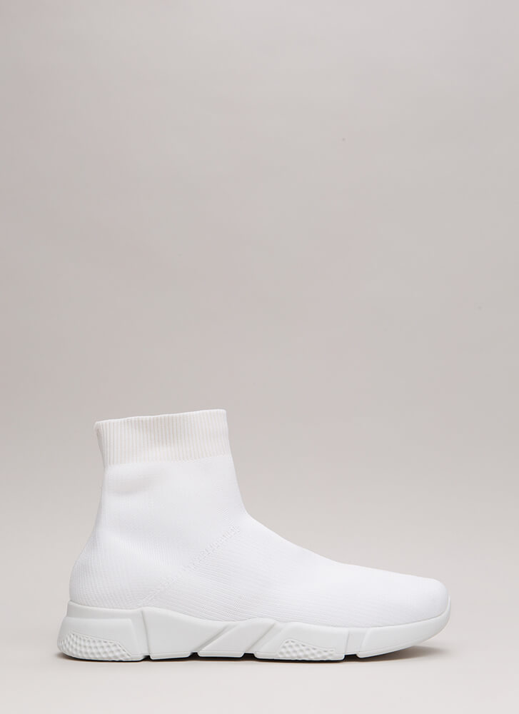 Take Flight Knit High-Top Sneakers WHITE