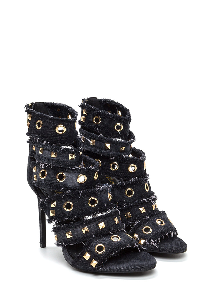 Jean Streak Studded Strappy Caged Heels BLACK