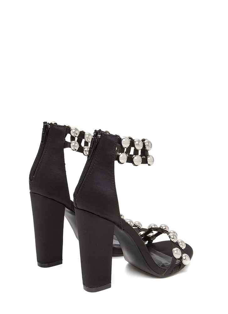 Luxe Seduction Chunky Satin Heels BLACK