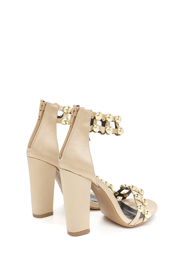 Glam Seduction Chunky Satin Heels GOLD (Final Sale)