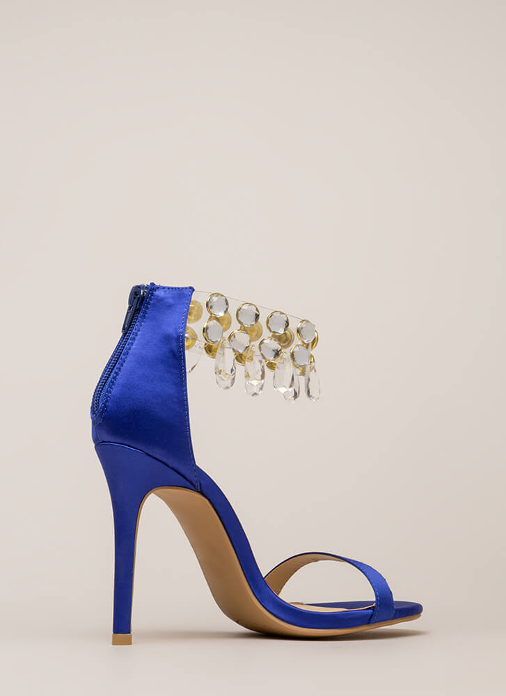 Luxurious Glam Jeweled Satin Heels BLUE