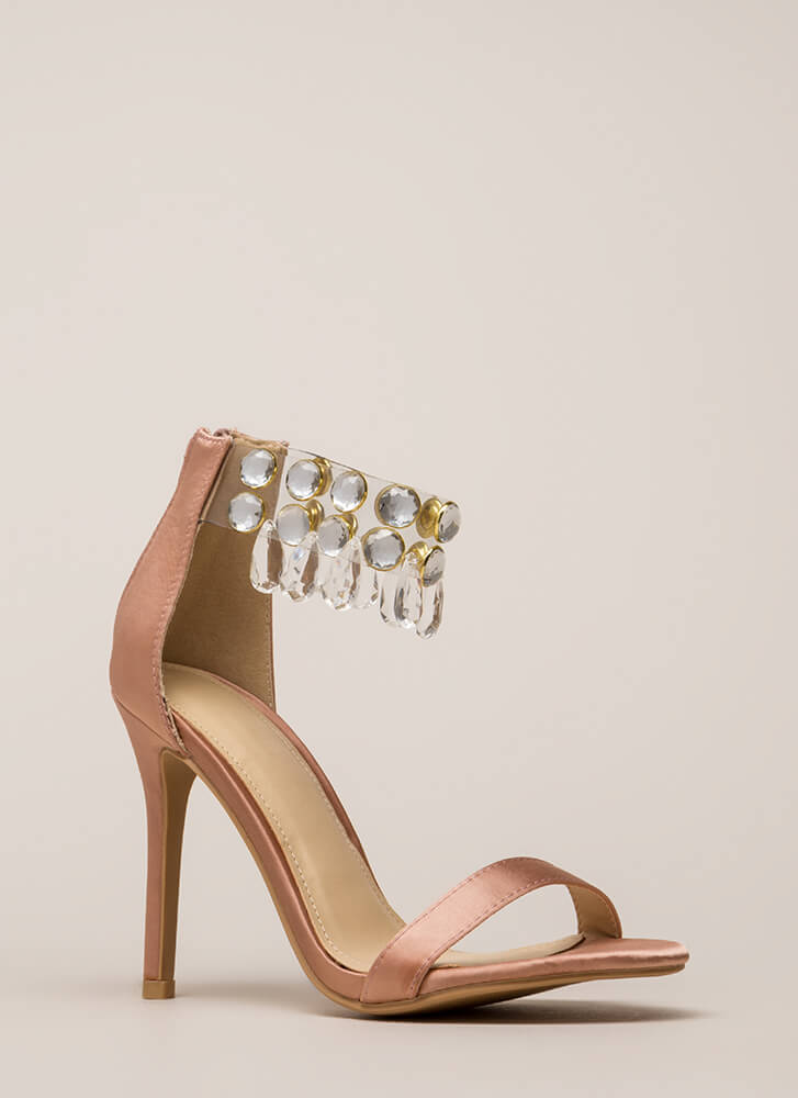 Luxurious Glam Jeweled Satin Heels MAUVE