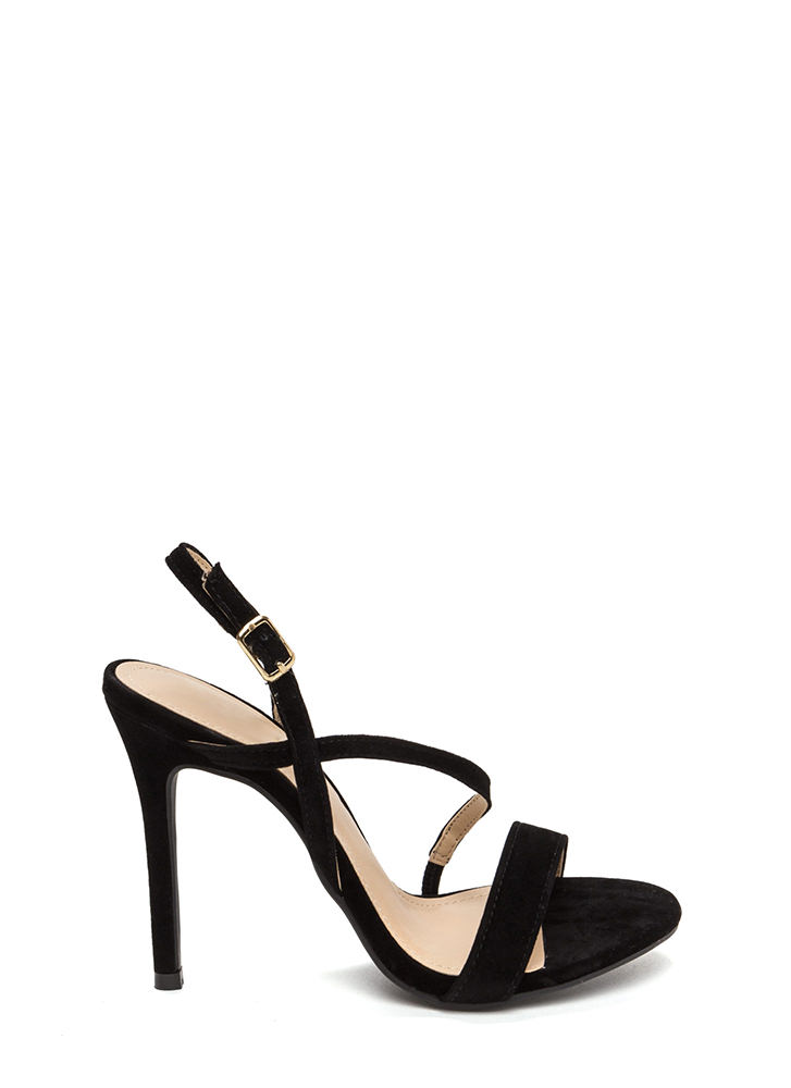 Effortlessly Chic Faux Suede Heels BLACK