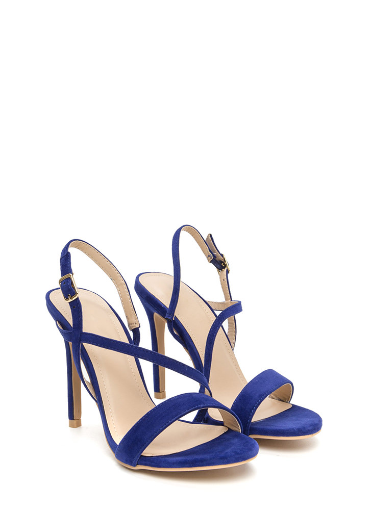 Effortlessly Chic Faux Suede Heels BLUE