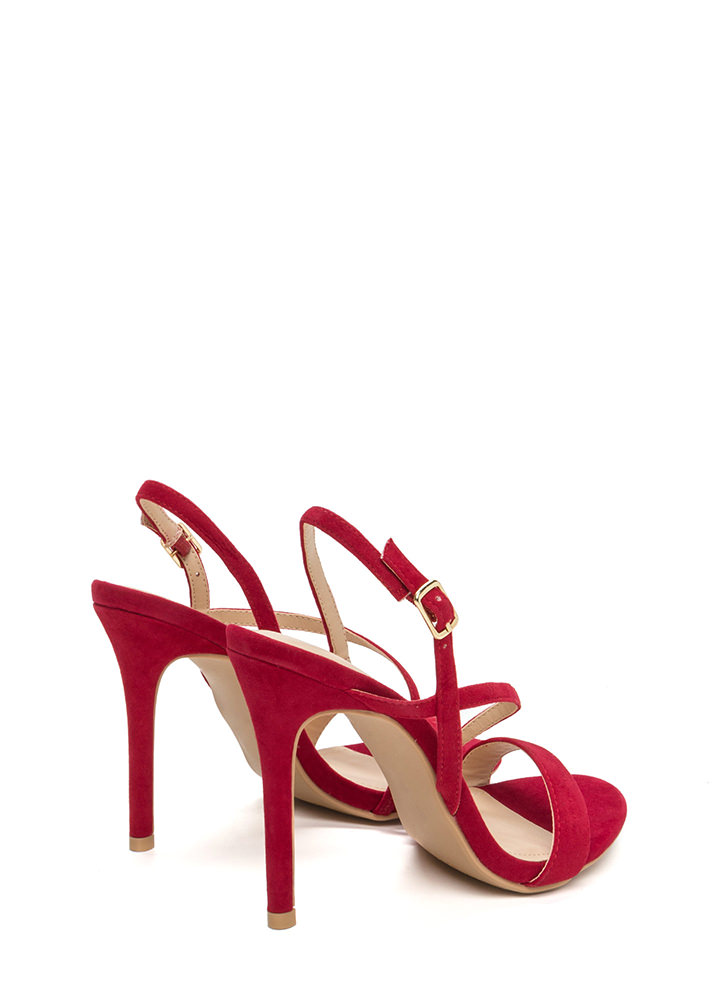 Effortlessly Chic Faux Suede Heels RED