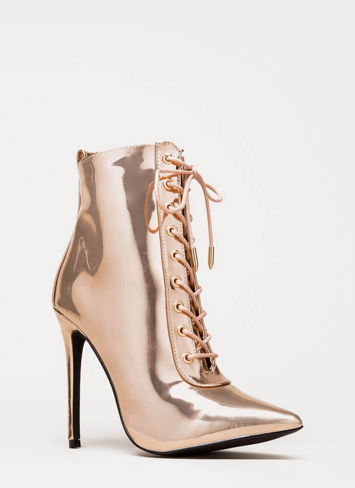 Everyday Chic Pointy Metallic Boots ROSEGOLD